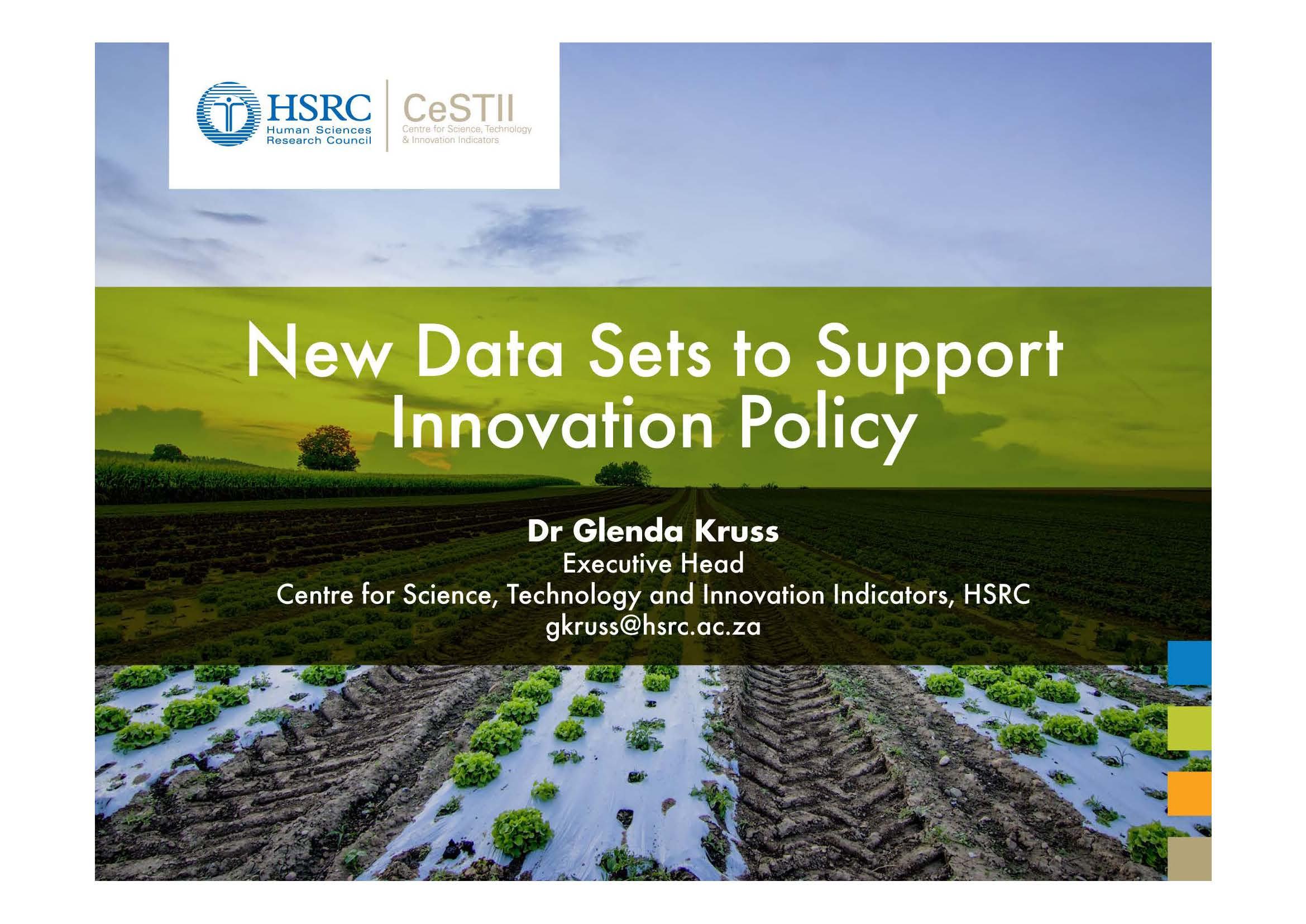 New Data Sets to Support Innovation Policy by Dr Kruss